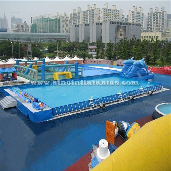 To have movable steel frame swimming pools out are very hot in China