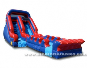 Blue N red long single lane kids inflatable water slide