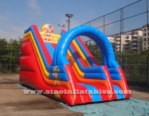 children happy clown inflatable slide with arch
