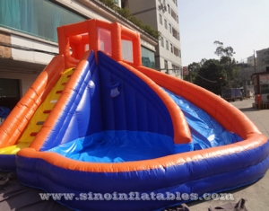 Backyard Summer banzai inflatable water slide with pool