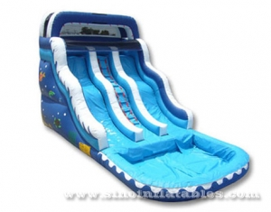 double lane inflatable water pool slide