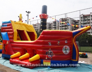 kids pirate ship inflatable slide