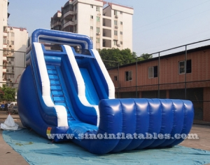 blow up inflatable wet slide with pool for kids