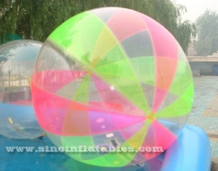 colorful inflatable walking ball on water