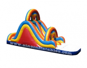 Best quality double lane inflatable water slide blow up with pool