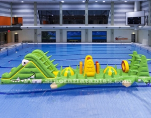 kids or adults crocodile inflatable water obstacle course