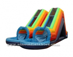 Commercial grade huge double channel inflatable water slide