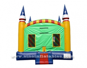 Custom made outdoor patriotic inflatable bounce house with basketball ring inside
