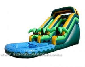 Coconut Tree Inflatable Water Slide With Pool