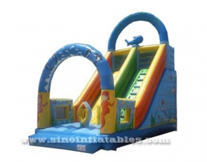 blue ocean world inflatable slide