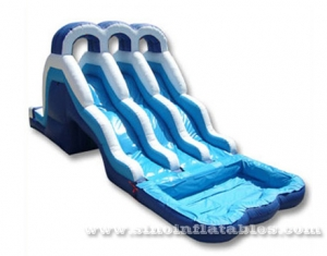 kids triple lane inflatable water slide with poo