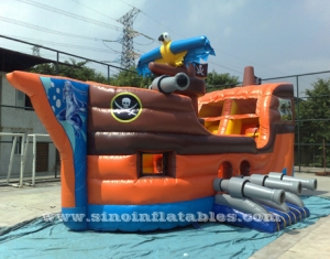 kids party inflatable pirate ship with slide N basketball