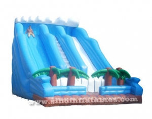 giant blue wavy tropical inflatable slide