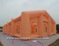 long orange inflatable rectangle tent