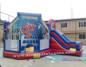 kids spiderman inflatable jumping castle with slide