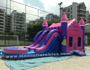 double lane slide princes N princess inflatable bouncy house with basketball ring N water pool