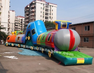 giant inflatable long train tunnel