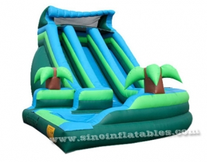 Giant outdoor curve inflatable water slide with pool