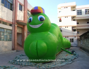 green caterpillar inflatable obstacle tunnel