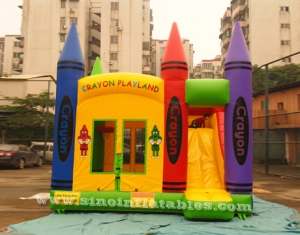 kids crayon inflatable bounce house