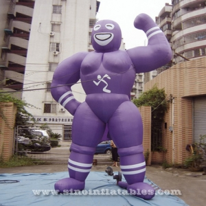 purple adverting muscle man