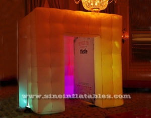 Cube tube led inflatable photo booth enclosure