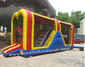 kids inflatable bounce house tunnel with slide and pillars