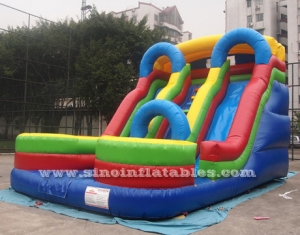 big colorful double lane inflatable slide