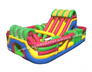 giant adrenaline zone inflatable slide with obstacles