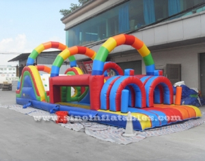 Rainbow kids inflatable obstacle course