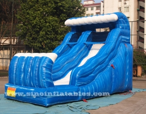 Blue wave blow up inflatable water slides with pool