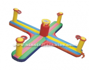 inflatable bungee run basketball shoot games with hoop