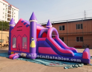 pink princess inflatable bounce house with slide