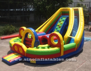 kids big inflatable obstacle with double slide