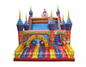 giant colorful crazy clown castle inflatable slide