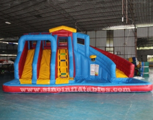 3 lanes splash banzai inflatable pool slide