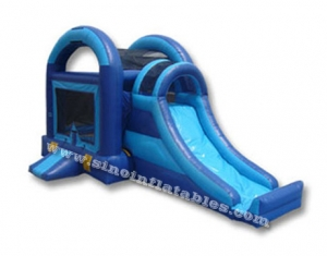 blue inflatable bouncy castle with slide for sale