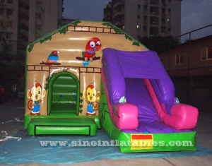 jungle animal theme inflatable jumping castle with slide