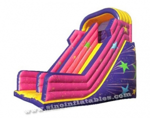 multicolored meteor inflatable slide