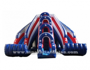 patriotic twist inflatable tunnel slide