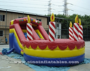 Birthday party cake inflatable slide