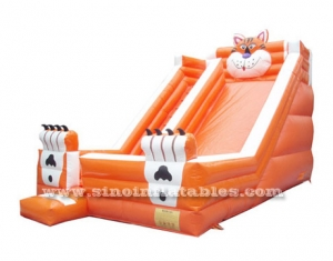 big orange tiger inflatable slide