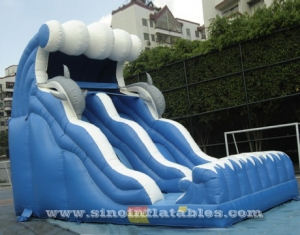18ft high blue wavy dolphin inflatable slide