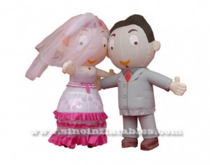 bride and groom wedding moving costume