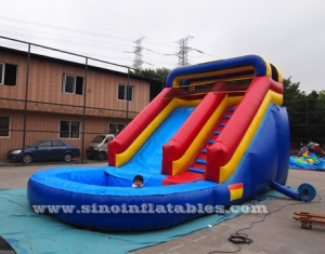 Backyard kids inflatable water slide with pool