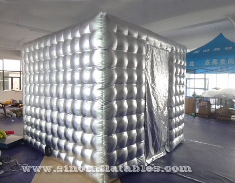 silver cube tube LED inflatable photo booth