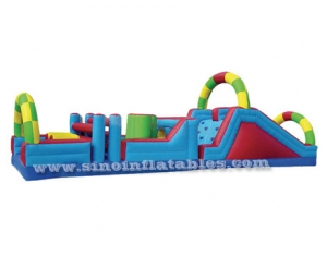 Rainbow kids inflatable obstacle