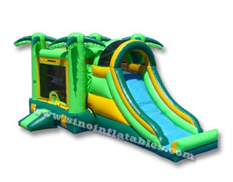 tropical palm tree kids inflatable combo game