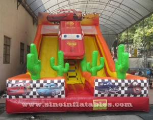 kids extreme speed race inflatable car slide