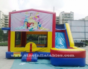 princess theme wet inflatable combo bounce house